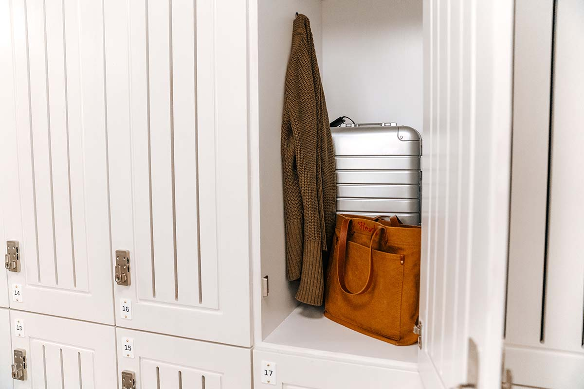 Open lockers for luggage during your stay