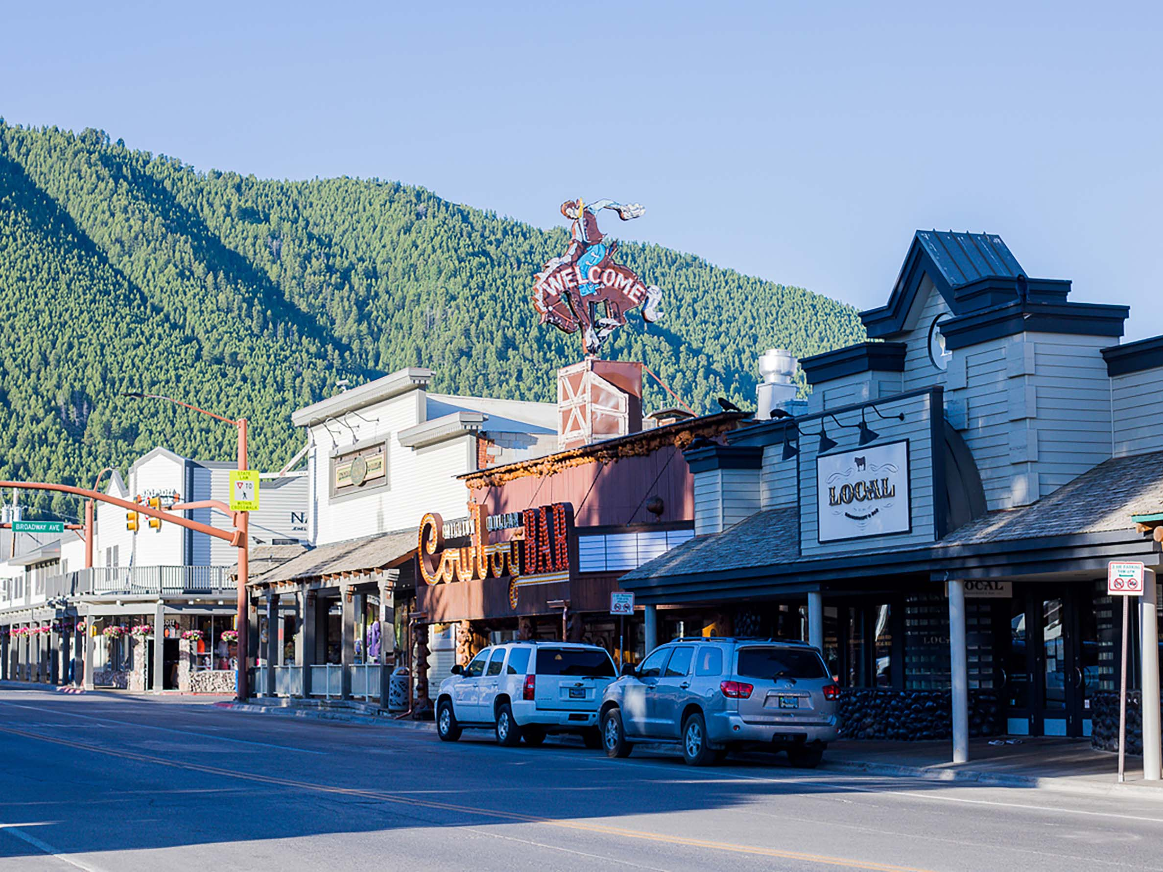 Jackson Wyoming downtown in summer